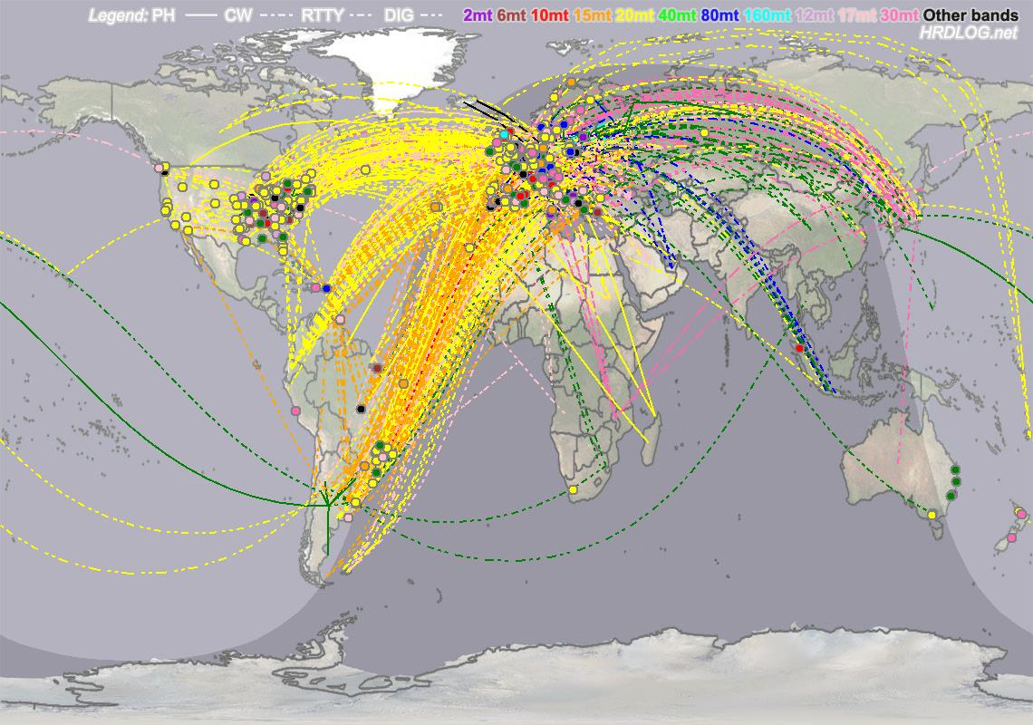 "Will starts ""Last 1 hour QSO map"" soon, then auto refresh it every every 1 minute / Click to enlarge"